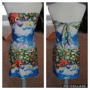Flowers and sky image dress